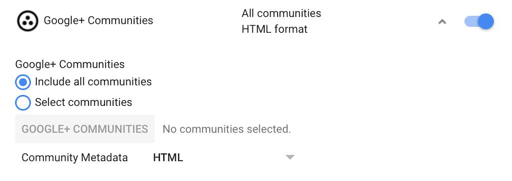 export Google+ data selection options