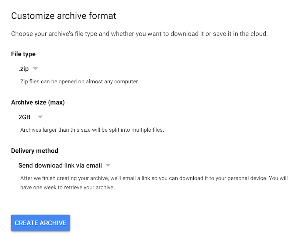 google+ data export archive format screen